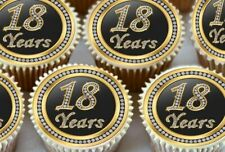 24 X 18TH BIRTHDAY ANNIVERSARY EDIBLE CUPCAKE TOPPERS CAKE THICK RICE PAPER 1170