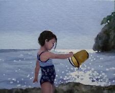 "Bucketful of Fun :  Nostalgic Original Oil Painting  Wendy Warwick 10"" X 8"""