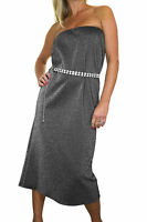 ICE (3993-1) Ladies Glitter Shine Stretchy Tube Dress Silver Grey Size 12 14 16