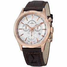Zeno Men's Gentlemen Brown Leather Chronograph Quartz Date Watch 6662-5030PGR-F2