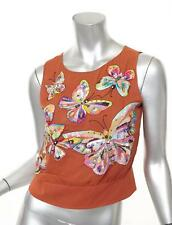 EMANUEL UNGARO Orange Chiffon Butterfly Beaded Embroidered Open Back Top XS
