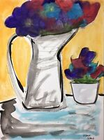 Matt Scalf Floral Flowers Vase Watercolor 9x12 ORIGINAL PAINTING Abstract Orange