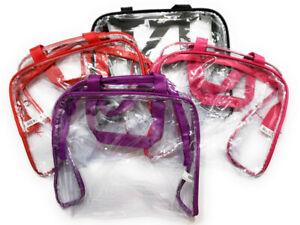 "9"" x 8"" Event Stadium Clear See Thru Handbag / Makeup Bag with Colored Trim"