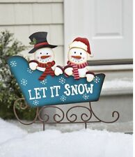 Let It Snow Snowman Couple Sleigh Christmas Garden Stake Yard Front Lawn Decor