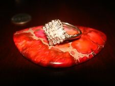 & Cz Ring.925 Sz-8 Beautiful Vintage Sterling Silver