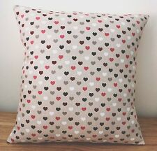 """SHABBY CHIC RED HEART CUSHION COVER LINEN 16 X 16"""" HAND MADE"""