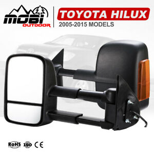MOBI Extendable Towing Side Mirrors Suit Toyota HILUX 2005-2015 Black 2PCS