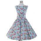 Retro Rockabilly 50s 60s Swing Vintage Dress Casual Print Floral Polka Dot Dress