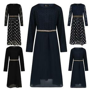 Girls Maxi Dress Polka Dot Diamante Belt Kids Long Sleeve Holiday Abaya Islamic