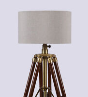 Wooden Tripod Spot Light Vintage Industrial Metal Tripod Floor Lamp Mid Century