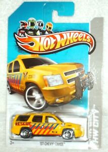 Hot Wheels 2013 HW City Rescue 2007 Chevy Tahoe yellow,black int,ex.card