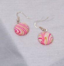 Gold Lustre Drop Earrings Very unusual Pink and