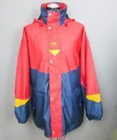 Vintage Mens HELLY HANSEN Waterproof Jacket L Sailing Tech Red Blue 90's Coat