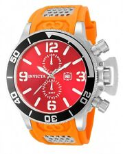 New Mens Invicta 80224 Corduba GMT Red Dial Orange Rubber Strap Watch