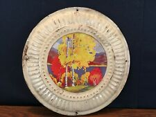 """Vintage Tin Metal Stove Chimney Flue Cover with Fall Scene 8"""" Wide"""