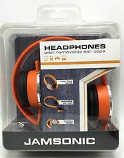 Orange Headphones with Removable Ear Caps Foldable Super Bass Jamsonic New