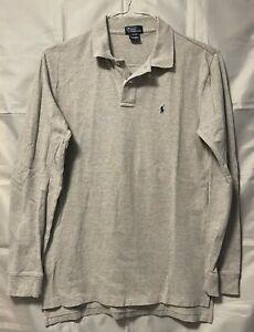 Polo Ralph Lauren Boys Gray Polo Shirt XL Extra Large 20 Cotton Long Sleeve Teen
