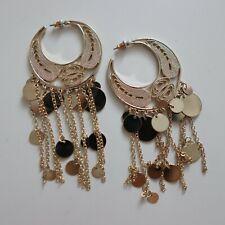 Gold Hoop Earrings With Disc Tassels Gypsy
