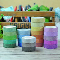 10Pc DIY Glitter Washi Paper Sticky Adhesive Tape Craft Sticker Masking Hotly