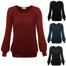 Regular Size Rayon Solid Long Sleeve Tops & Blouses for Women