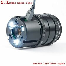 Nanoha 4x-5x Super Macro Lens for Sony A5000 A6000 A7 7r E mount With Led lights