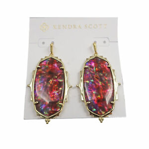 Kendra Scott Elle Baroque Oval Dangle Earrings in Mauve Abalone and Gold