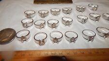 20 Pcs V Shape Vintage 18K Hge Espo White Gold Plated Silver Tn Rhinestone Rings