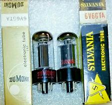 Matched Pair 6V6GTA Sylvania & DuMont (Syl. made) NOS Tubes, Triplett test 112%+