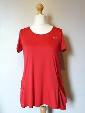 Reebok Women's Stretch Cap Sleeve Top Tee T Shirt + Pockets Size 12-14 BNWT Red