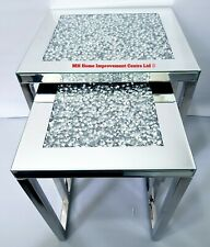 Sparkly Diamond Crush Crystal Silver Mirrored Nest Of 2 Tables Stainless Steel