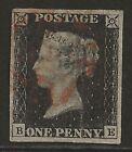 GB 1840 1d Penny Black classic (pl #4) fresh lightly used, 4 good margins cv400