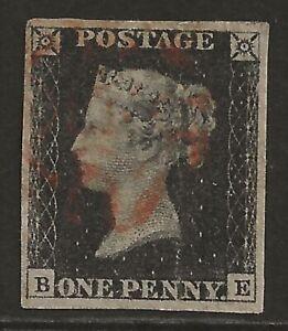 GB 1840 1d Penny Black classic (pl #4) fresh lightly used, 4 good margins cv£400