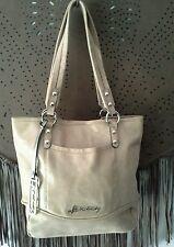 B Makowsky Margene Tote Shoulder Bag Charm Shimmery Textured Leather Taupe $288