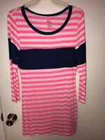 SI Avance Pink White Blue 3/4 Sleeve Rayon Blend Stretch Blouse Shirt  Women's S