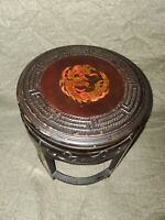 Antique japanese handcarved wooden Stool with handpainted dragon