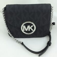 cb6359c964088 New Authentic Michael Kors Fulton Logo and Leather Small Crossbody Shoulder  BLK