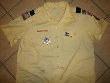 WOMEN'S BSA BOY SCOUTS OF AMERICA UNIFORM SHIRT Patches Pins Den Leader YELLOW