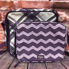 Lot: 2 THIRTY-ONE 31 Insulated Zippered Lunch Boxes Bags Totes Nylon Plum Plaid