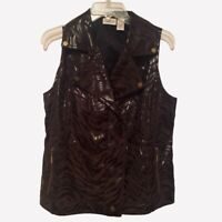 Zenergy By Chicos Womens Vest Brown Tiger Print Snap Zipper Pockets M/8-10