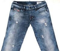 Women's DIESEL LHELA 008N1 Slim Straight Leg Distressed  Denim Jeans W25 L32