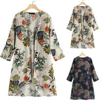 ZANZEA Women Tunic Kimono Cardigan Coat Jacket Club Party Beach Floral Cover Up