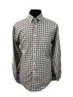 Brooks Brothers Mens 346 Button Down Shirt Non Iron Cotton Blue Brown Sz Medium