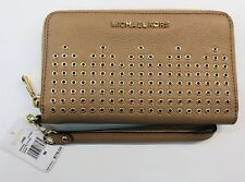 Michael Kors Hayes DK KHAKI Leather Large Flat Phone Case/Wallet/Wristlet