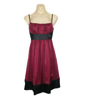 REVIEW Size 10 Dress Silk A-Line High Waist Burgundy Red Gold Cocktail Party EUC