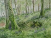 Forest watercolour painting original woodland woods trees landscape flora