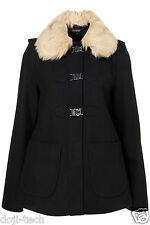 Topshop Navy Wool Fur Collar Hooded Clasp Short Duffle Swing Coat Jacket 6 34 XS