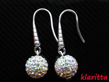 Costume Jewellery Silver Shamballa AB Crystal Disco Ball Drop Earrings CC32