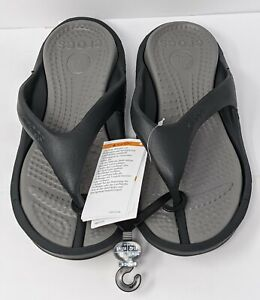 NEW Crocs Athens Flip Flops Sandals Size Mens 8 / Womens 10 Black and Gray