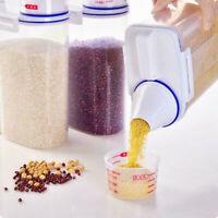 2L Plastic Cereal Dispenser Storage Box Kitchen Food Grain Rice Container US