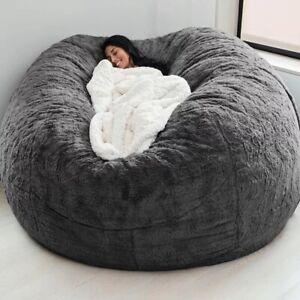7FT Removable Washable Bean Bag Big Black Bed Cover Sofa Living Room Furniture